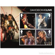 Sellos: HOJA BLOQUE SELLOS DAVID BOWIE DISCOS MUSICA DAVID BOWIE LIVE STAMP SHEET. Lote 88988592
