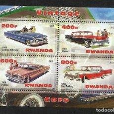 Sellos: RWANDA 2002 HOJA BLOQUE SELLOS TEMATICA COCHES - CADILLAC - METEOR - PONTIAC - FORD FAIRLANE. Lote 89670924