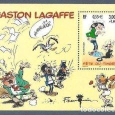 Sellos: HOJA BLOQUE SELLOS GASTON LAGAFFE FRANCIA NUEVO. Lote 89727840