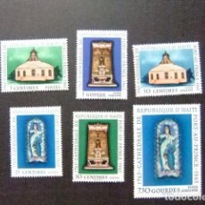 Sellos: HAITI 1965 CATEDRAL DE PUERTO PRINCIPE YVERT 537 / 39 + PA 315 / 17 MNH. Lote 89846320