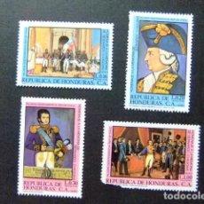 Sellos: HONDURAS 1981 BERNARDO O`HIGGINS LIBERTADOR DE CHILE YVERT PA 657 /660 ** MNH Nº 660 ROTO. Lote 90156384