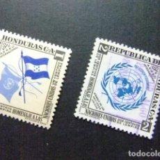 Sellos: HONDURAS 1953 HOMENAJE A LAS NACIONES UNIDAS YVERT PA 198 - 199 º FU. Lote 90224696