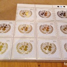 Sellos: BLOQUE 11 SELLOS DE 37 CENTAVOS DE LA ONU. Lote 92227490