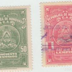 Sellos: HONDURAS TIMBRES FISCALES USADO Y NUEVO 50 CENTAVOS Y 1 LEMPIRA 1960. Lote 95715615