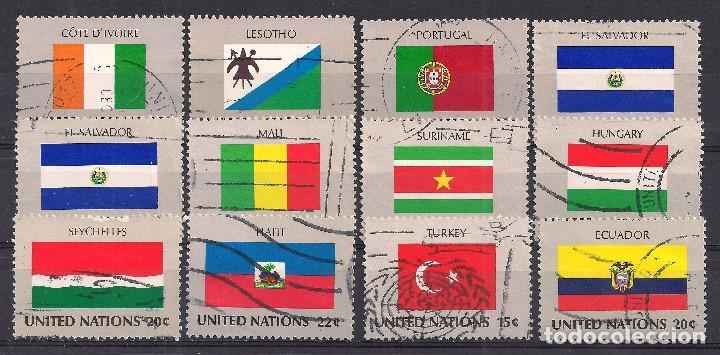 NACIONES UNIDAS - LOTE 12 BANDERAS ESTADOS MIEMBROS - USADO (Sellos - Extranjero - América - Otros paises)