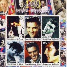 Sellos: BENIN 2002- HOJA BLOQUE DE SELLOS 100 AÑOS WALT DISNEY- EL REY DEL ROCK: ELVIS PRESLEY . Lote 100062431
