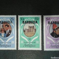Sellos: BARBUDA. YVERT 525/7. SERIE COMPLETA NUEVA SIN CHARNELA. DIANA DE GALES. SOBRECARGADOS. Lote 100193275