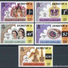Sellos: DOMINICA 1977 IVERT 512/6 *** 25º ANIVERSARIO DE LA ASCENSIÓN AL TRONO DE S.M. ISABEL II - CASA REAL. Lote 100300991