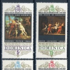Selos: DOMINICA 1969 IVERT 237/40 *** 20º ANIVERSARIO DE LA ORGANIZACIÓN MUNDIAL DE LA SALUD - PINTURA. Lote 100995195