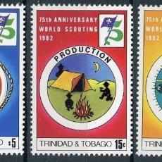 Sellos: TRINIDAD Y TOBAGO 1982 IVERT 452/4 *** 75º ANIVERSARIO DEL SCOUTISMO. Lote 103487155