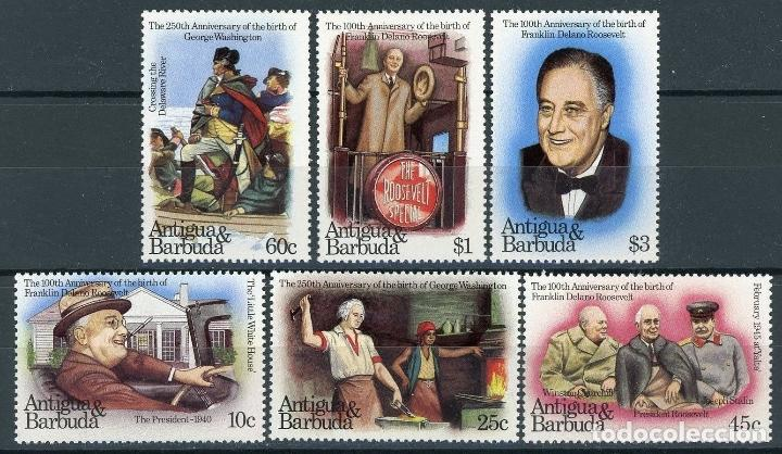 ANTIGUA 1982 IVERT 675/80 * 100º ANIVERSARIO NACIMIENTO FRANKLIN ROOSEVELT Y 250º DE G. WASHINGTON (Sellos - Extranjero - América - Otros paises)