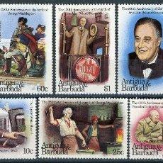 Sellos: ANTIGUA 1982 IVERT 675/80 * 100º ANIVERSARIO NACIMIENTO FRANKLIN ROOSEVELT Y 250º DE G. WASHINGTON . Lote 105803499