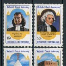 Sellos: ANTIGUA 1983 IVERT 727/30 * ANIVERSARIO DE LA IGLESIA METODISTA - PERSONAJES Y MONUMENTOS. Lote 105805055