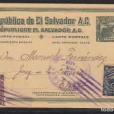 Stamps - EL SALVADOR.- Entero postal de un centavo con sellos complementarios dirigido a Jerez - 110972479
