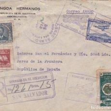 Sellos: CARTA DE SAN SALVADOR A JEREZ VÍA N.YORK CON MARCA AÉREA. . Lote 110974271