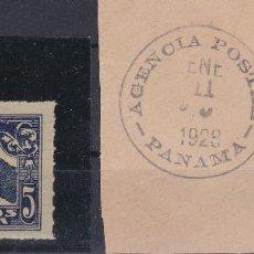 Sellos: PANAMA SELLO 157 Y 158 MATASELLO POSTAL HOMENAJE A LINDBERGH . Lote 111600847