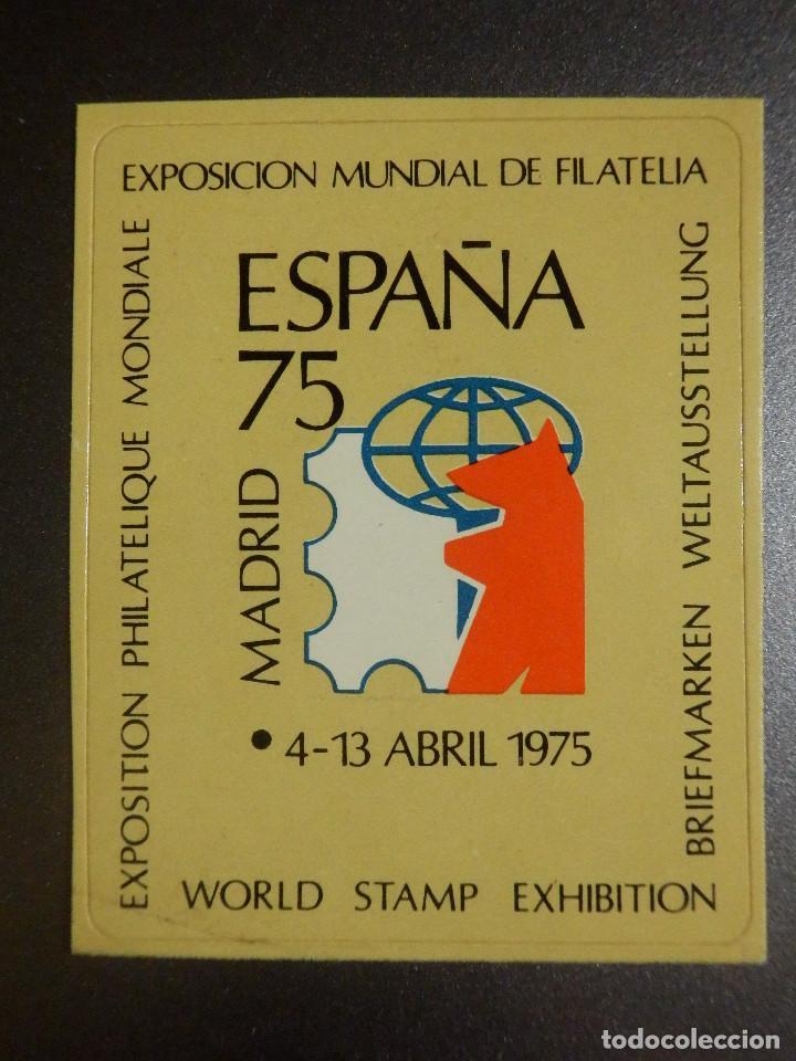 VIÑETA ADHESIVA - EXPOSICIÓN MUNDIAL DE FILATELIA - 4 AL 13 DE ABRIL DE 1975 (Sellos - Temáticas - Varias)