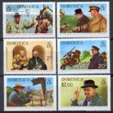 Sellos: DOMINICA 1974 IVERT 396/401 *** 100º ANIVERSARIO DEL NACIMIENTO DE SIR WINSTON CHURCHILL. Lote 112541423