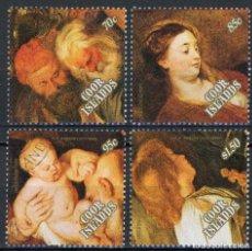 Sellos: COOK 1989 IVERT 998/1001 - NAVIDAD - PINTURA - DETALLES DE UN CUADRO DE RUBENS. Lote 112546507