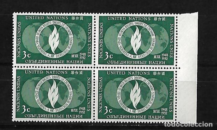 NACIONES UNIDAS OFICINA DE NUEVA YORK 1952 LLAMA DE LA LIBERTAD BLOQUE DE 4 SELLOS NUEVOS (Sellos - Extranjero - América - Otros paises)