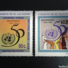 Sellos: EL SALVADOR. YVERT 1242/3. SERIE COMPLETA NUEVA SIN CHARNELA. 50° ONU.. Lote 113037134