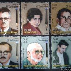 Sellos: EL SALVADOR. YVERT 1599/604. SERIE COMPLETA NUEVA SIN CHARNELA. ESCRITORES. LITERATURA. Lote 113037314
