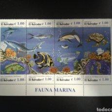 Sellos: EL SALVADOR. YVERT 1299/306. SERIE COMPLETA SIN CHARNELA. FAUNA MARINA.. Lote 113038932