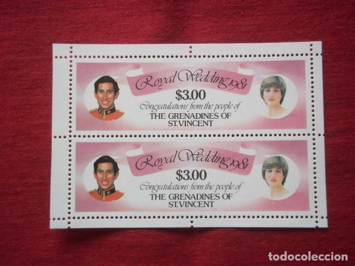 HOJA DE BLOQUE THE GRENADINES ST VINCENT 3$ 1981 ROYAL WEDDING DIANA CON GOMA NUEVA (Sellos - Extranjero - América - Otros paises)