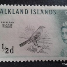 Sellos: FALKLAND ISLANDS,COLONIA BRITÁNICA,1960,ISABEL II Y TIPOS PÁJAROS,YVERT 122**,SCOTT 128**,(LOTE AG). Lote 128703879