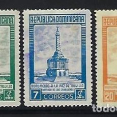 Sellos: DOMINICANA 1954 IVERT 431/3 - SERIE BÁSICA - MONUMENTO DE LA PAZ. Lote 133725238