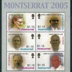 Sellos: MONTSERRAT - PERSONALIDADES - HB (2005) **. Lote 137704982