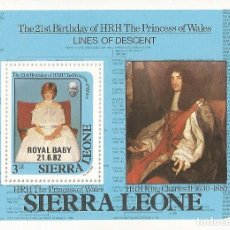 Sellos: SIERRA LEONA - 1982, THE21ST BIRTHDAY OF HRH THE PRINCESS OF WALES - MICHEL NR: B9 . Lote 139322266