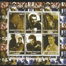 Sellos: CONGO 2000 HOJA BLOQUE SELLOS TEMATICA CINE- CHARLES CHAPLIN- GARY GRANT- ALFRED HITCHCOCK- BURTON . Lote 140486270