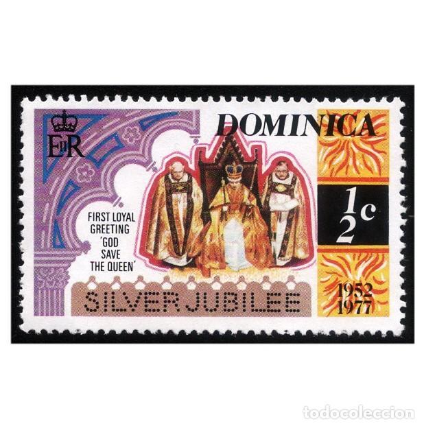 DOMINICA 1977. MI 546. REALEZA. ANIVERSARIO CORONACIÓN REINA ISABEL II USADO (Sellos - Extranjero - América - Otros paises)
