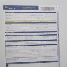 Sellos: IMPRESO CERTIFICADO INTERNACIONAL DE CORREOS DE ESPAÑA. CON COPIA. DESCATALOGADO. M-11I. NUEVO. Lote 143260922