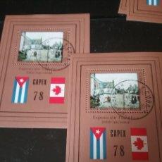 Sellos: HB (2) R. CUBA MTDAS/1978/EXP. FILATELIA INTERN./CAPEX,78/TORONTO/BANDERAS/CUBA/CANADA/ALDEA/CASAS/E. Lote 143807797