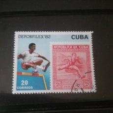 Sellos: SELLOS R. CUBA MTDOS/1982/EXP. INTERN. MONEDAS Y FILATELIA/LA HABANA/DEPORTE/SALTO/VALLAS/SSS. Lote 143867506