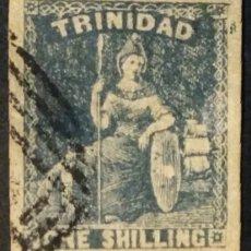 Sellos: TRINIDAD. 1859, BRITANNIA. 1 SH. AZUL PIZARRA (Nº 10 MICHAEL).. Lote 144569946