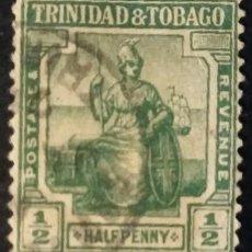 Sellos: TRINIDAD Y TOBAGO. 1913, BRITANNIA. ½ P. VERDE AMARILLENTO (Nº 1A MICHAEL). . Lote 144570950