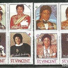 Sellos: SAN VICENTE 1985 IVERT 890/7 *** HOMENAJE AL CANTANTE MICHAEL JACKSON - MÚSICA. Lote 145800346