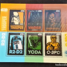 Sellos: HOJA SELLOS STAMP STAR WARS HOLOGRAFICOS R2-D2 - TROOPER - C-3PO - CHEWBACCA. Lote 146088982