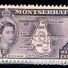 Sellos: MONTSERRAT , IVERT Nº 133, RERINA ISABEL DE INGLATERRA Y MAPA DE LA ISLA, NUEVO *. Lote 147348958