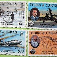 Sellos: TURKS & CAICOS. 713/16 LEONARDO DE VINCI Y ALA VOLADORA, SIR ALLIOT VERDON, ROBERT GODDARD, IGOR SIK. Lote 147354554