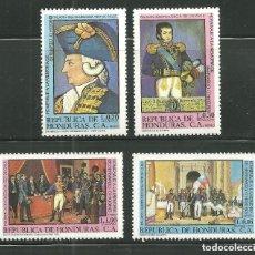 Sellos: HONDURAS 1981 AEREO IVERT 657/60 *** HOMENAJE A BERNARDO O'HIGGINS LIBERADOR DE CHILE - PINTURA. Lote 149450822