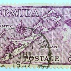 Sellos: SELLO POSTAL BERMUDAS 1953, 3 PENIQUE, MAPA DE BERMUDAS, USADO. Lote 150051822
