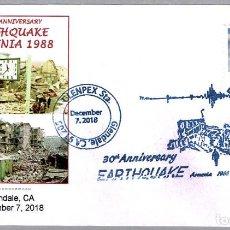 Sellos: MATASELLOS DE GEOLOGIA - 30 AÑOS DEL TERREMOTO DE ARMENIA. GLENDAE CA 2018. Lote 150435610