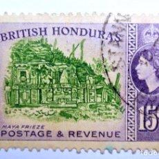 Sellos: SELLO POSTAL BRITISH HONDURAS 1953 , 15 C ,RUINA MAYA, USADO. Lote 150795962