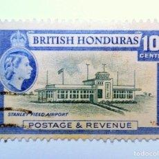 Sellos: SELLO POSTAL BRITISH HONDURAS 1953 , 10 C ,AEROPUERTO STANLEY, USADO. Lote 150796934