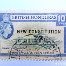 Sellos: SELLO POSTAL BRITISH HONDURAS 1960 , 10 C ,AEROPUERTO STANLEY, OVERPRINT, USADO. Lote 150798410