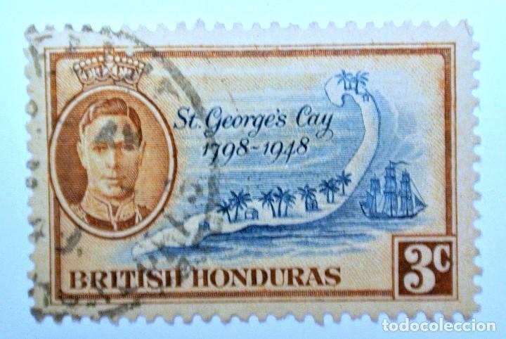 SELLO POSTAL BRITISH HONDURAS 1949 , 3 C ,ST GEORGES CAY , USADO (Sellos - Extranjero - América - Otros paises)